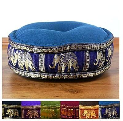 livasia Zafukissen Seide mit Kapokfüllung, Meditationskissen BZW. Yogakissen, rundes Sitzkissen/Bodenkissen (rot/Elefanten)