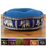 Asia Wohnstudio Zafukissen Seide mit Kapokfüllung, Meditationskissen bzw. Yogakissen, rundes Sitzkissen/Bodenkissen (marineblau/Elefanten)