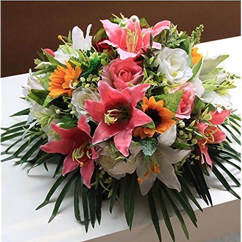 San Tai@cabezas Artificial flor de seda para la decoración de la boda de la fiesta en casa ramos de flores,Paquete incluido:sin botellas-40cm