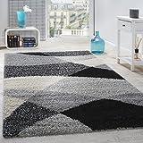 Paco Home Tapis Shaggy Longues Mèches Hautes Motifs Gris Noir Blanc, Dimension:140x200 cm