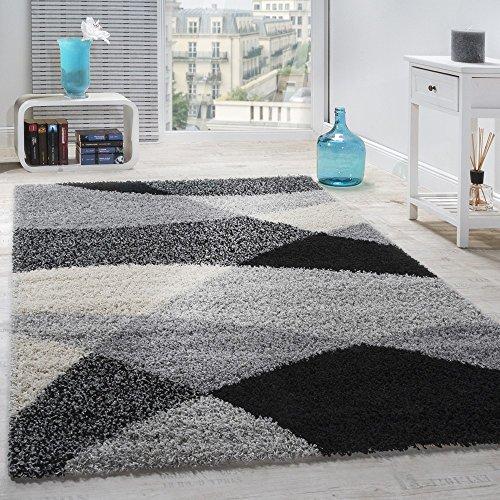 Alfombra Shaggy Pelo Alto Pelo Largo Estampada En Gris Negro Blanco, tamaño:120x170 cm