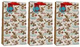 Pack of 3 Christmas Double Bottle Gift Bags Ribbon Handle Tag - Santa Mousse