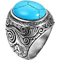 JewelryWe Gioielli Anello da Uomo, Anello Grande, Classico Retro, Acciaio Inossidabile, Azzurro Argento (con Borsa…