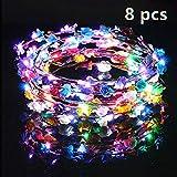 Fansport 8 PCS LED Fascia Fiori Coroncine Fiori Capelli Ghirlande per Feste e Compleanni e Ragazze/Copricapo deda Sposa per Bambini