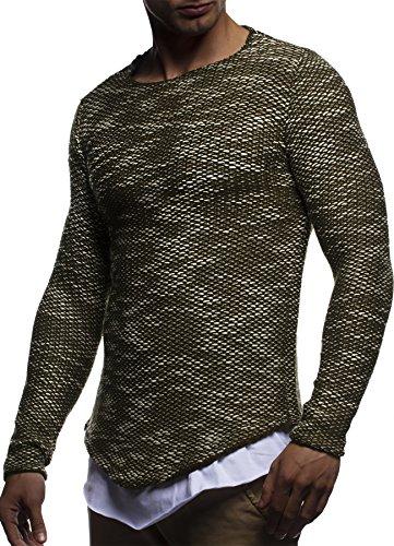LEIF NELSON Herren Pullover Strickpullover Hoodie Basic Rundhals Crew Neck Sweatshirt langarm Sweater Feinstrick LN20733 Khaki
