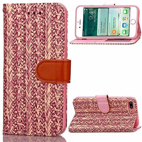 Für iPhone 7 Plus , Holz Korn Muster Fall, PU Leder Tasche TPU Soft Cover mit Handschlaufe Stand Brieftasche Fall für Apple iPhone7 Plus FeiNianJSh ( Color : 4 , Size : Iphone 7 Plus ) (Outter Iphone 4 Fälle)