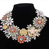 Glamora Imported Gorgeous Multicolor Rhinestone Beaded Flower Statement Bridal Necklace Jewellery (BU-NW387)
