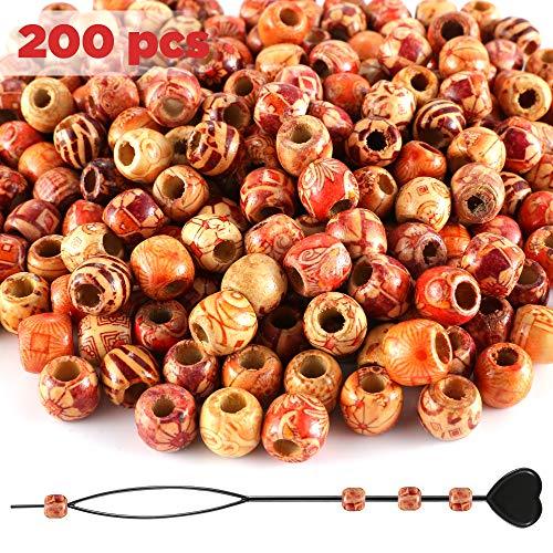 rlen mit Perlen Einfädler, Gemischte Muster & Großes Loch 5mm Perlen Kugeln für basteln auffädeln DIY und Haar Bart Dreadlocks Schmuck etc. ()