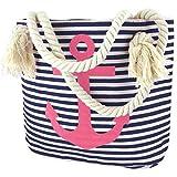 Sonia Originelli XS Shopper Anker 'Sarah' Einkaufstasche Tasche Maritim Farbe Marine-Pink