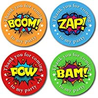 Olivia Samuel 45mm Superhero Thank You for Coming To My Party Stickers. 4 Bright Colours (24 Stickers). Great for party bags, sweet cones and birthday party bag fillers.
