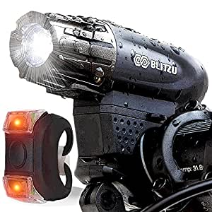 Super Bright USB Rechargeable Bike Light - Blitzu Gator 320 POWERFUL Bike Headlight - TAIL LIGHT INCLUDED. 320 Lumens LED Front Light. Waterproof, Easy Installation for Cycling Safety Flashlight