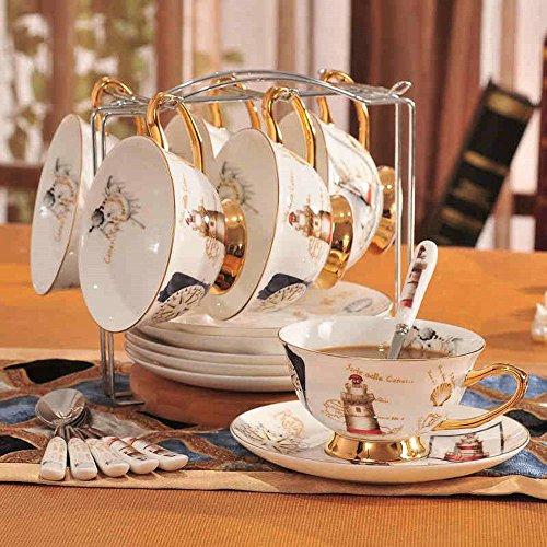 SSBY Set de tasse à café élégant, 6 tasses de prime porcelaine créative café, tasses et soucoupes porcelaine anglaise café grandes tasses