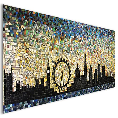 Black City Mosaic London Acrylic Glass Wall Art - XL 140cm x 70cm