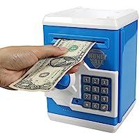 HUSAN Electronic Money Bank, Electronic Password Piggy Bank Mini ATM Cash Coin Money Box for Kids Birthday Toy for Children (Blue)