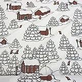 Stoff Baumwollstoff weiß rot Wichtel Zwerge Schnee Haus