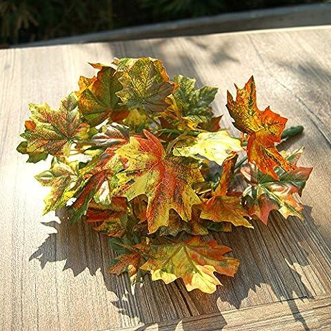 Fiori artificiali ShiQi vero tocco Fake Flower Green Maple Leaf Ristorante Cinese in plastica Festival dei fiori del giardino di casa decorazioni per matrimoni arancione