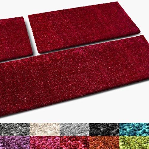 casa pura® Bettumrandung Cosy | Bettvorleger Set 3 teilig für Schlafzimmer | in vielen Trendfarben | waschbar | Hochflor Teppich Läufer, kuschelig weich (rot)