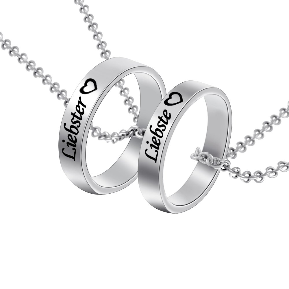 MJARTORIA Damen Halskette Silber Farbe Sperren Schlüssel Partnerketten Freundschftsketten mit Gravur Ring Kreis Ketten für 2