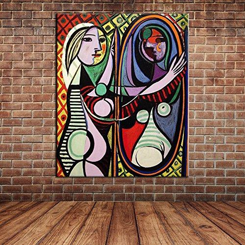 IPLST@ Moderna dipinta a mano del ritratto del fumetto Lady Sexy Woman pittura a olio su tela di canapa per il salone Decorazione Camera -24x36inch(Nessuna cornice, senza barella)