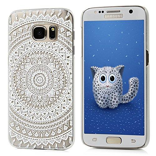 Badalink Handy Tasche Samsung Galaxy S7 Hülle für Samsung Galaxy S7 Case Cover Handycase PC Hardcase Harte Hülle Cover Transparente Schutzhülle mit Totem Muster Design Image Print