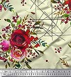 Soimoi Gelb Satin Seide Stoff Dreieck, Beeren & Rose Blume