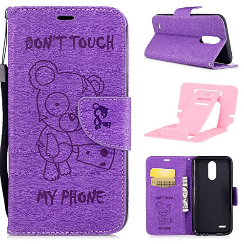 Ekakashop Magnetic Flip Cover for LG K10 2017,Cute Funny Little Bear Embossing Wallet Case with Hand Strap for LG K10 2017, Pretty Pu Leather Women&Men General Folio Style Colorful Wallet Case with Card Slots for LG K10 2017 with Kickstand (Colors Random) -- Purple