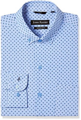 John Players Men's Printed Slim Fit Cotton Formal Shirt (JFMWSHA170092_Classic Blue_42)
