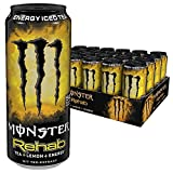 Monster Energy Flavour Rehab Lemonade mit Tee Extrakten & Lemon Geschmack - ohne Kohlensäure/Energy Drink Palette mit 24 x 500ml Dosen/2in1 Energie Getränk & Eistee!