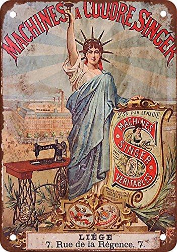 Francese Singer macchine da cucire vintage Riproduzione in metallo Tin Sign 20,3x 30,5cm