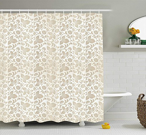 tgyew Floral Shower Curtain, Traditional Victorian Stylized Retro Swirl Flowers Classic Blooms Rococo Pattern, Fabric Bathroom Decor Set with Hooks, 66x72 inches Extra Long, Beige White - Victorian Lodge