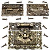 LUCY WEI 1 stuk antiek reliëf Haspe Latch Lock juwelendoos slot kist slot met vergrendelhaak 2 stuks scharnieren voor het ver