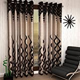 Home Sizzler 4 Piece Eyelet Polyester Window Curtain - 5ft, Brown
