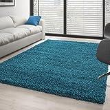 Teppich Hochflor Wohnzimmer Langflor Shaggy Unifarbe vers. Farben und Größen - Türkis, 140x200 cm