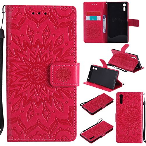 For Sony Xperia XZ Case [Red],Cozy Hut [Wallet Case] Magnetic Flip Book Style Cover Case ,High Quality Classic New design Sunflower Pattern Design Premium PU Leather Folding Wallet Case With [Lanyard Strap] and [Credit Card Slots] Stand Function Folio Protective Holder Perfect Fit For Sony Xperia XZ 5,2 inch - red Test
