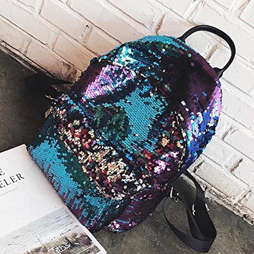GREEN HOME 1 1 STÜCK Meerjungfrau Glitter Pailletten Frauen Reversible Rucksack Schultasche Rucksack Studenten Casual Für Tasche Bookbag Kreative Frauen Tasche (Blau)