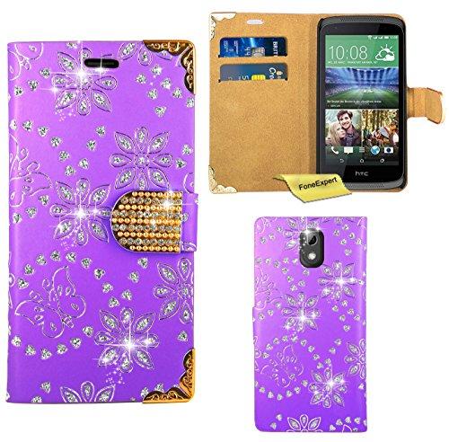HTC Desire 526G Handy Tasche, FoneExpert® Bling Luxus Diamant Hülle Wallet Case Cover Hüllen Etui Ledertasche Premium Lederhülle Schutzhülle für HTC Desire 526G (Lila)