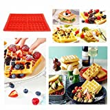 iNeith Waffle Baking Molds 2 in 1 kit Mini Heart Shape & Square Silicone Muffin Mould Red