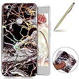 Herbests Handy Hülle Huawei P8 Lite 2017 Schutzhülle Silikon Handytasche Marmor Muster Glänzend Glitzer Kristall Luxus Bling Transparent Durchsichtige Tasche TPU Bumper Case,schwarz