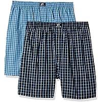Hanes Men's Checkered Cotton Boxer Shorts (Pack of 2)(P108_Black-Lt.Blue Checks_L)