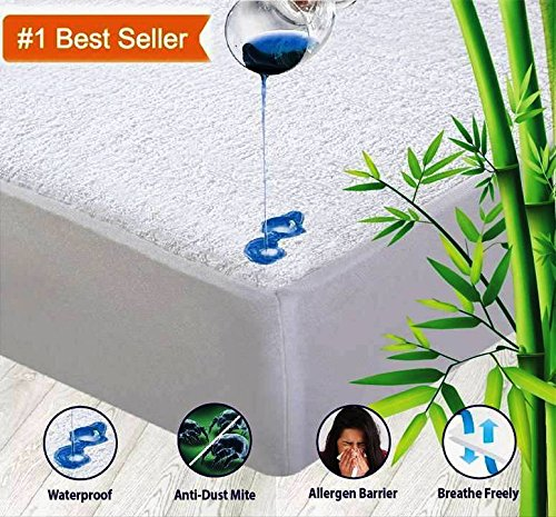 "OYO BABY Waterproof Mattress Protector Cotton Terry Fitted {White} 72""X78""X (Skirting 12"")"