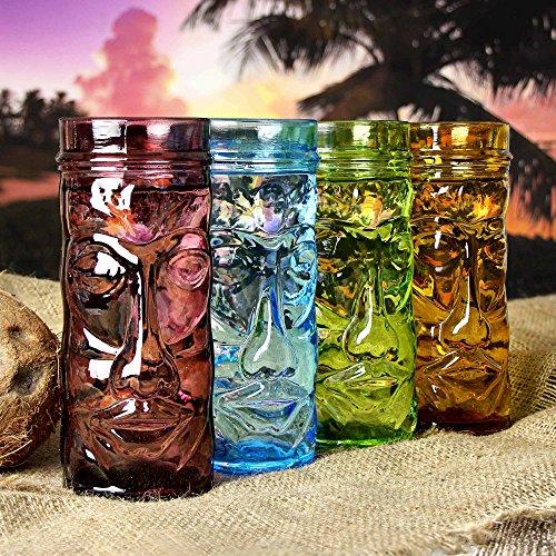 Tasses en verre coloré Tiki oz/400 ml – Lot de 4 tasses à cocktail en verre – Boîte Cadeau en Forme de Tiki Têtes