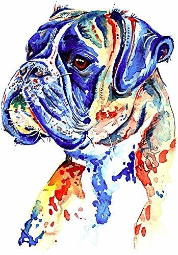 """Boxer perro arte pintura, arte impresión impresiones de regalos de cumpleaños-Boxer perro obras de arte, pared arte-opciones de montaje, papel, Blanco, A4 Print Only - 8 x 12"""""""