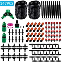 DokFin 100ft /30M Irrigation Drip Kit, Adjustable Automatic Micro Garden Irrigation System, Blank Distribution Tubing Hose Atomizing Nozzles Drippers Watering Drip Kit