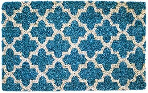 Entryways 2050S Annabelle Handgewebte Kokosfaser-Fussmatte, Coir, turquoise, 40 x 60 x 2.5 cm