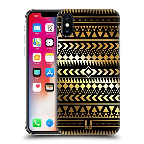 Head Case Designs Albero Stampe Oro Azteche Cover Retro Rigida per Apple iPhone X Triangolo
