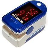 Vingerpulsoximeter & hartslagmeter met sleutelkoord & hoes, donkerblauw