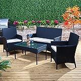 Alfresia Bordeaux Rattan Garden Furniture Set - Outdoor Patio Sofa Bench, 2 Armchairs and Coffee Table