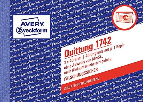 Doppel-Pack Avery Zweckform 1742 Quittung Kleinunternehmer (A6 quer, selbstdurchschreibend, 2x40 Blatt) weiß/gelb