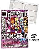 Unbekannt Hausaufgabenheft -  Monster High - schaurig schräg  - für Faule - ohne Vortragen der Stunden ! - Schule - incl. Schutzhülle & bunten Seiten - für Mädchen / ..