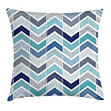 Modern Decor Throw Pillow Cushion Cover, Seamless Doodle Style Dots And Zigzag Pattern with Asymetrical Lines Image, Decorative Square Accent Pillow Case, 18 X 18 inchess, Blue And White